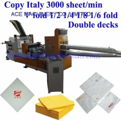Copy Italy 300 m/min V 1/2 1/4 1/8 1/6 Fold Paper Napkin Luncheon Beverage Table Serviette Tissue Folding Converting Embossing Machine